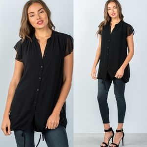 🖤Black Flutter Sleeve Tunic Top with Tie Hem